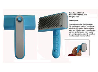 Dog self-cleaning brush